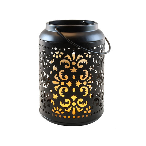Metal Lantern - Fire-Like Pillar Candle