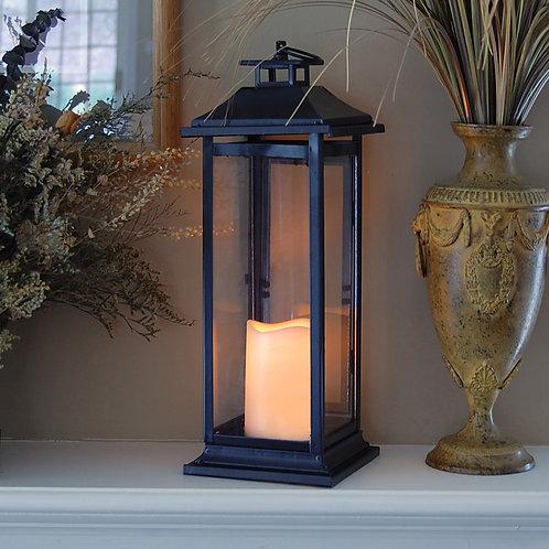 Metal Lantern w/LED Candle - Black Traditional