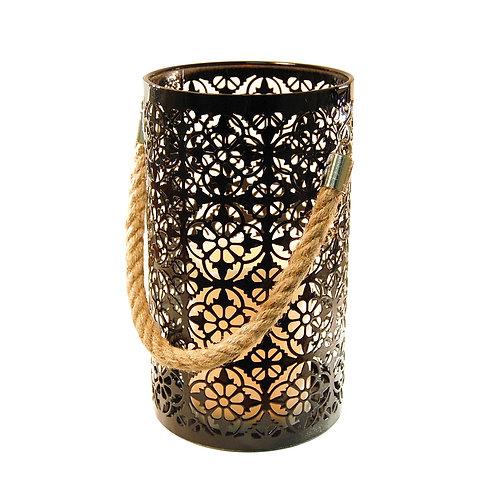 Metal Lantern/LED Candle Motif - Black