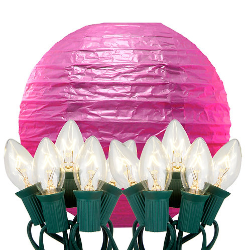Electric String Lights with Fuchsia Paper Lanterns Kit 10ct