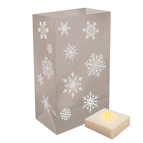 Battery LumaLite LED Luminaria Kit - Silver Snowflakes 6ct