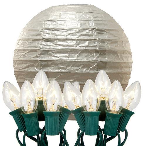 Electric String Lights with Metallic Silver Paper Lanterns Kit 10ct