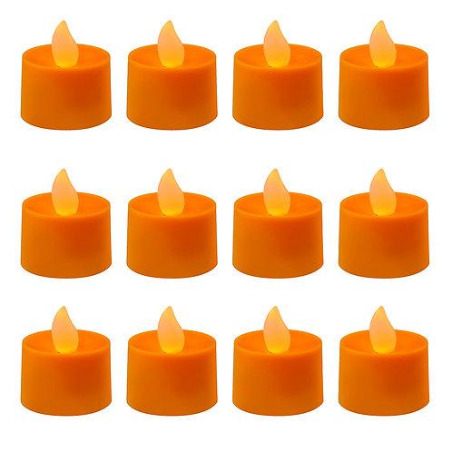 Battery LED Tealights - Orange 12L