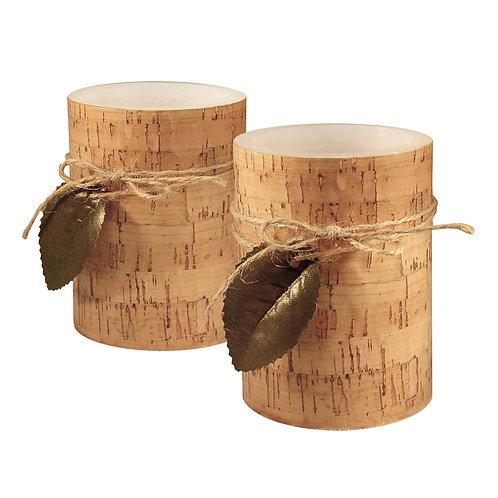 LED Wax Candles - Cork w/Leaf (set of 2)