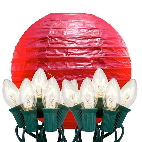 Electric String Lights with Red Paper Lanterns Kit 10ct