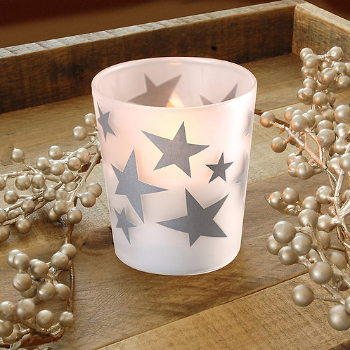 LED Glass Wax Candles - Silver Stars (set of 2)