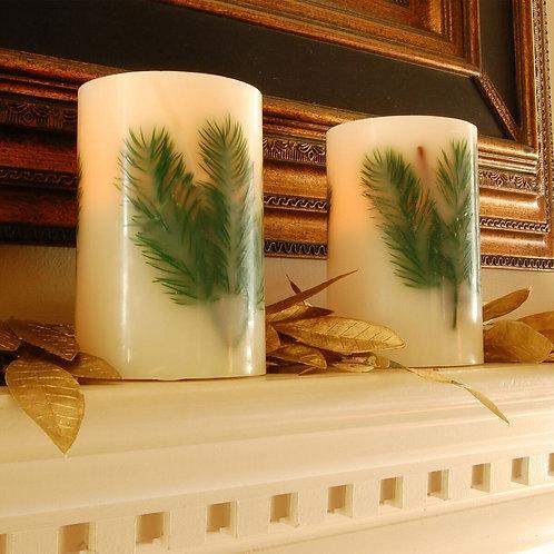 LED Wax Candle Pine Needle 2ct