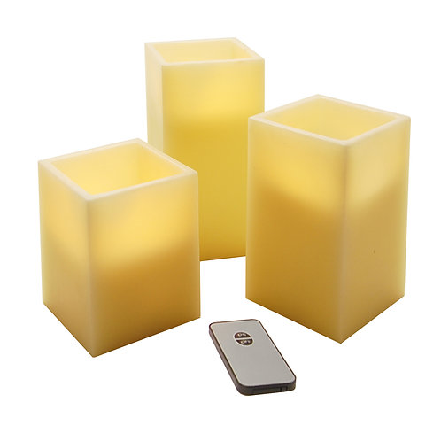 LED Wax Candles Remote Control - Square 3ct