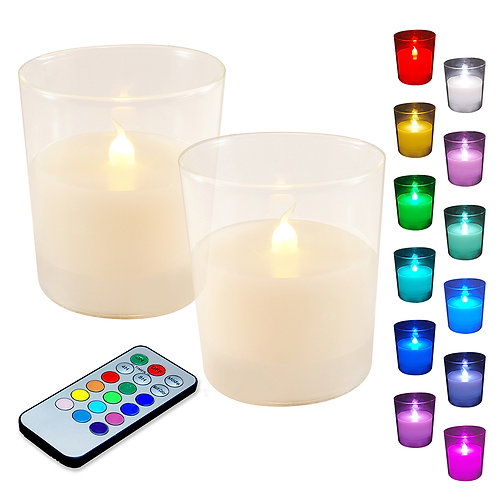 LED Glass Wax Candles - Multi Function RC (set of 2)