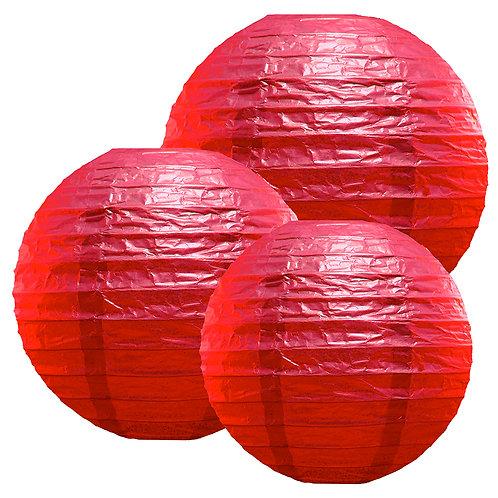 "Paper Lanterns Multi Size (12""-14""-16"") - Red  6ct"