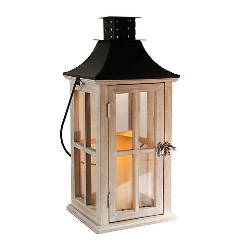 Wooden Lantern/LED - Whitewash/Black