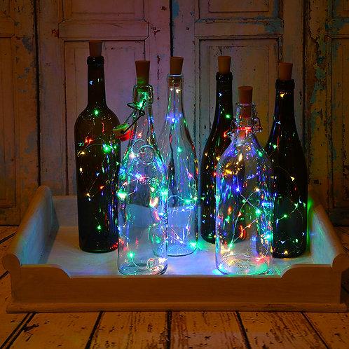 Battery LED Fairy String Lights Wine Cork- R-WW-B-G 6-10L