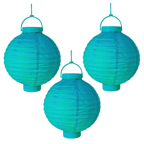 "Battery Paper Lantern 8"" - Turquoise 3ct"