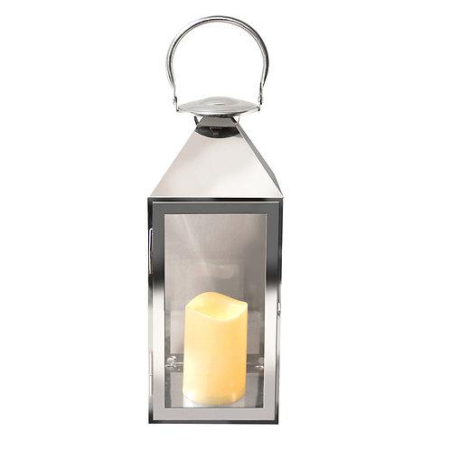 Metal Lantern w/LED Candle - Chrome Traditional