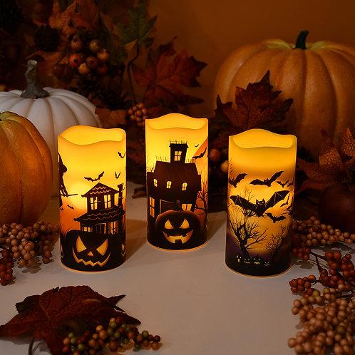 LED Wax Pillar Candles - Halloween (set of 3)