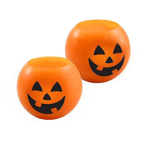 "LED Wax Candles - 4"" Ball JOL Orange (set of 2)"