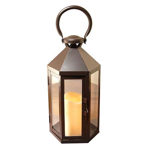 Metal Lantern w/LED Candle - Black Hexagon