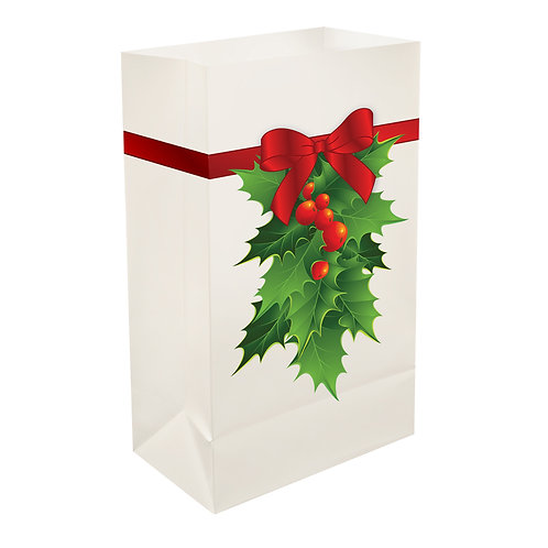 Plastic Luminaria Bags – Holly 12ct