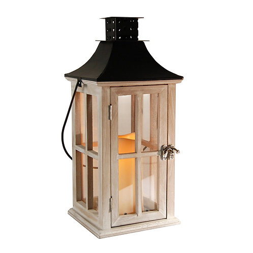 Wooden Lantern White Washed Natural Finish with Black Roof
