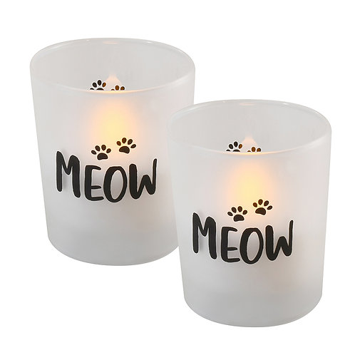 LED Glass Wax Candles - Meow (set of 2)