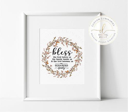 Meal Blessing Custom Print - Digital Download