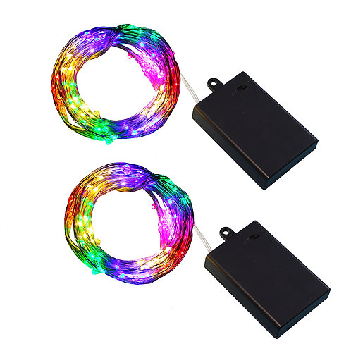 Battery LED Multi Strand Fairy Lights - Color/Silver 2-100L
