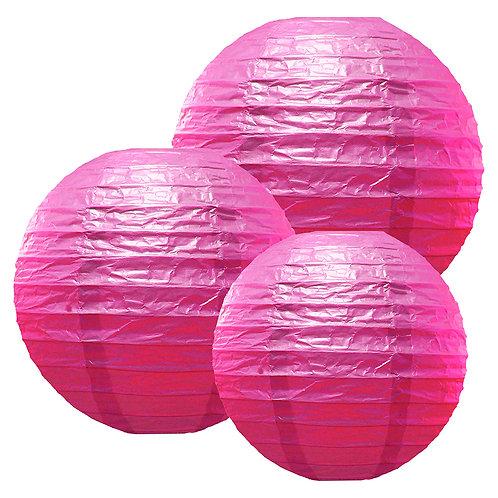 "Paper Lanterns Multi Size (12""-14""-16"") - Fuchsia 6ct"
