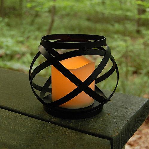 Metal Lantern w/LED Candle - Banded Medium