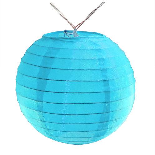 "Battery LED String Lights Nylon Lantern 6"" - Turquoise 10ct"