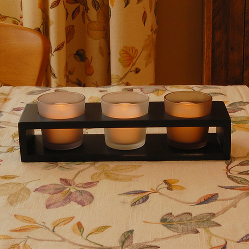 Wooden/Glass - Trio Candle Tray