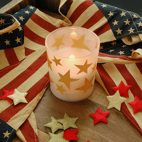 LED Glass Wax Candles - Gold Stars (set of 2)