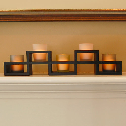 Wooden Candle Centerpiece with 5 Glass Votives 1ct