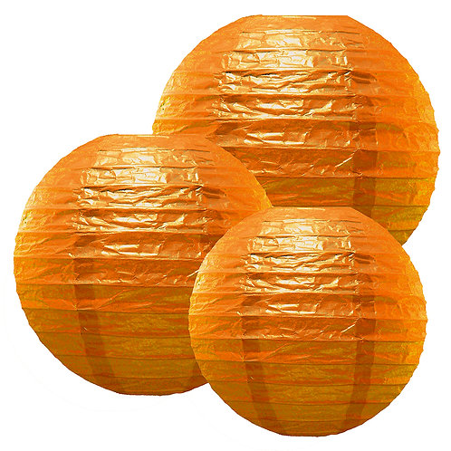 "Paper Lanterns Multi Size (12""-14""-16"") - Orange 6ct"