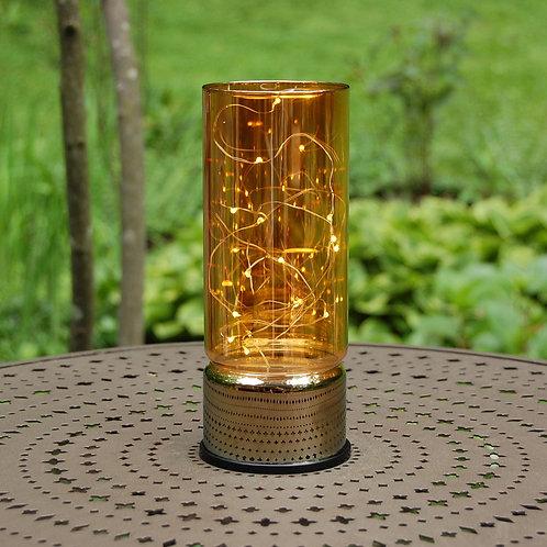 Lantern Amber Glass w/String Light 15L 1ct