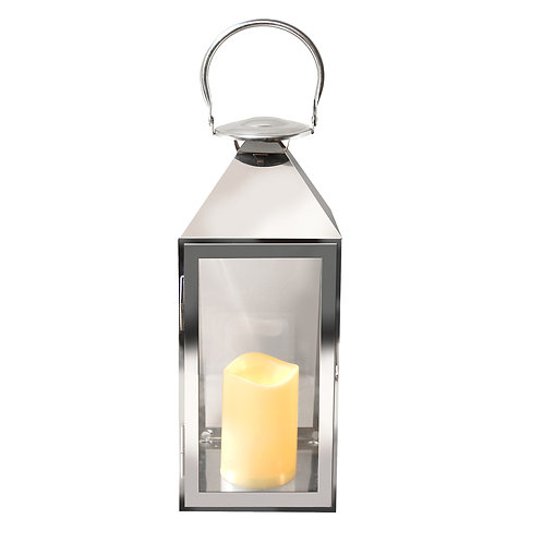 Metal Lantern Chrome Design with Flameless Candle 1ct