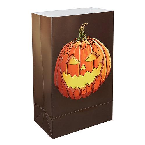 Plastic Luminary Bags - Halloween Jack O' Lantern 12ct