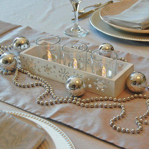 Wooden Snowflake Tray with 3 Glass Votives 1ct