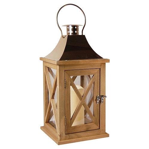 Wooden Lantern/LED - Natural/Copper