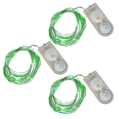 Battery LED Fairy String Lights - Green 3-20L