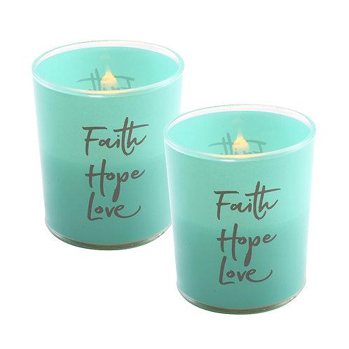 LED Glass Wax Candles - Faith Hope Love (set of 2)