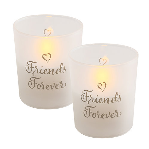 LED Glass Wax Candles - Friends Forever (set of 2)