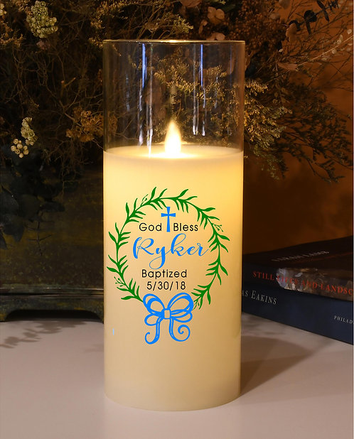 God Bless Personalized Candle - Natural Motion Flame