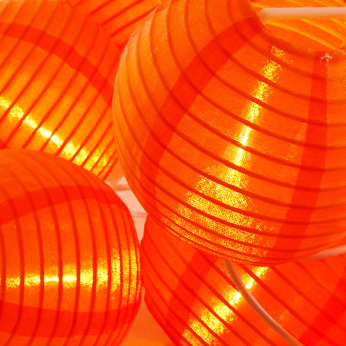 Electric String Light Nylon Lantern 10 – 3″ ORANGE 1ct
