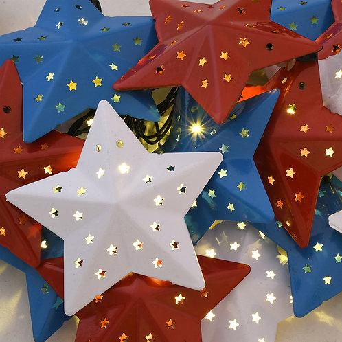 Solar String Lights R-W-B Star 1-20L