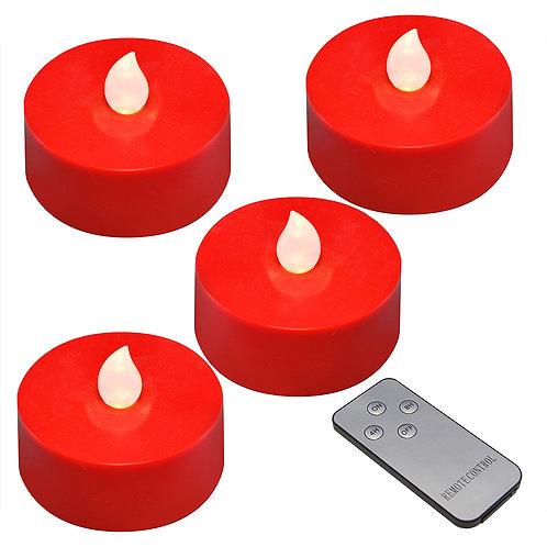 Battery LED Mega Tealights w/RC Timer- Red/White 4L