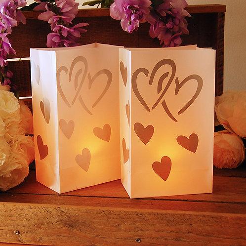 Plastic Luminaria Bag - Hearts 12ct