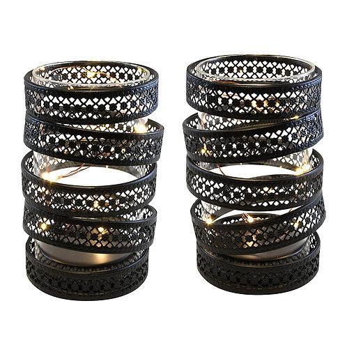 Metal Lantern - BO Spiral Black (Set of 2)