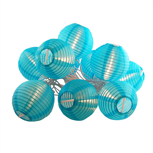 Electric String Light Nylon Lantern 10 – 3″ TURQUOISE 1ct