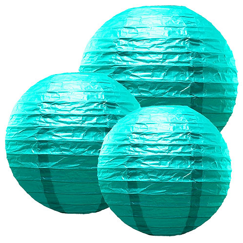 "Paper Lanterns Multi Size (12""-14""-16"") - Turquoise 6ct"