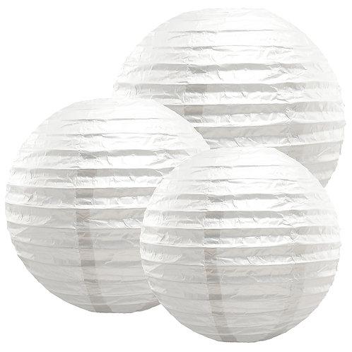 "Paper Lanterns Multi Size (12""-14""-16"") - White 6ct"